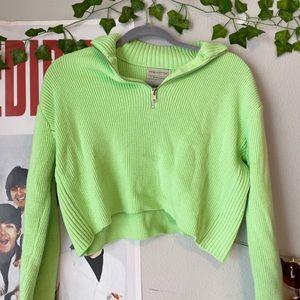 Neon green zip up